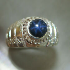 1.85cts Natural blue ray star, blue sapphire 925 Silver unisex ring