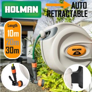 Holman Auto Rewind Retractable Garden Wall Mount Hose Reel w/Spray 10M/ 20M/ 30M