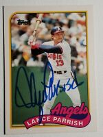 1989 Topps Traded Lance Parrish Auto Autograph Card Angels Tigers Signed #96T
