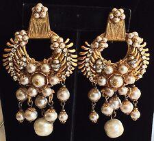 Outstanding Vintage Miriam Haskell Earrings~Pearls/Crystals/RS/Gilt Filigree