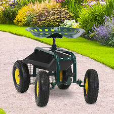 Garden Rolling Work Seat Cart Gardening Planting Tool with Tray and Basket Heavy