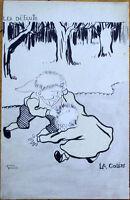 1903 Artist-Signed Postcard: Children Fighting, 'La Colere' - Wrestling