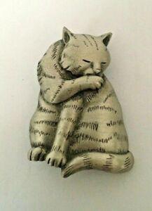 Rare Vintage JJ Jonette Satin Pewter Cat Brooch