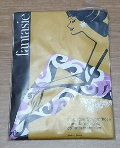 FANTASIE Vintage White Patterned Sheer Fancy Tights Size Large Made In Austria