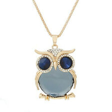 Jewerly Lobster Clasp Owl Necklace Gold Toned with Royal Blue  Crystals