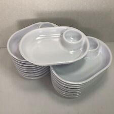 Snack Well 18 Melamine 1C White Oval Individual Coupe Bowls w/ 2T NOS Side-kicks