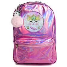 Kitten Bag Girls School Backpack Shiny Holographic Pink Bag Personalised PH03