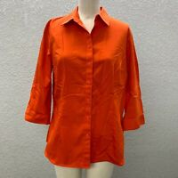 Coldwater Creek Button Up Shirt Top Women's M Orange Non Iron 3/4 Sleeve Casual