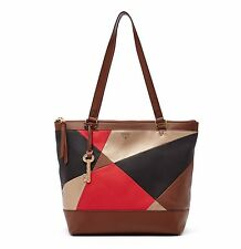 FOSSIL $168 RED MULTI SHOPPER Brown Gold Black Small Leather Tote Bag ZB6702 NEW
