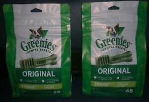 GREENIES Original TEENIE Natural Dental Dog Treats, 65 Treats X 2 (130 Treats)