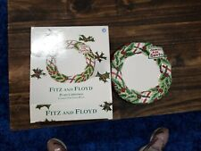 "Fitz Floyd 2002 Plaid Christmas Cookies for Santa 10"" Plate in Box Xmas Holiday"