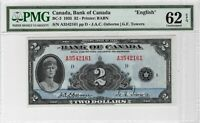 CANADA 1935 English $2 bill depicting Queen Mary BC-3 P-40 PMG UNC-62 EPQ