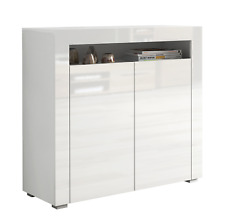 WHITE Gloss Door Top Sideboard Cupboard Small Square Cabinet Unit White Mat Body