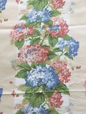 P Kaufmann Decorator Upholstery Fabric Floral Hydrangea Stripe Pink Blue BTY