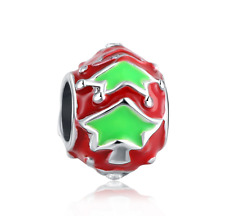 Christmas 925 Silver Painted Charm Beads Fit sterling Bracelet Necklace B#313