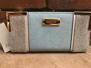 RIVER ISLAND Blue denim diamante embellish fold out purse new WITH TAGS