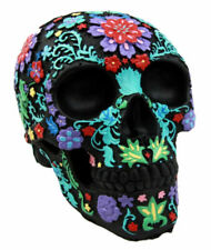 Day of The Dead DOD Engraved Colored Floral Skull Halloween Black Figurine