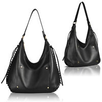 Black Threaded Side Tassel Slouch Large Tote Bag Womens Ladies Shoulder Handbag