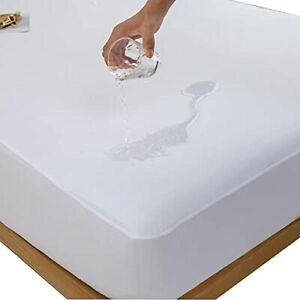 Kingnex Twin Size Mattress Protector Waterproof Cooling Bamboo Jersey Ultra S...