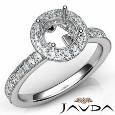 Halo Pave Set Round Semi Mount Platinum 0.5Ct Diamond Engagement Milgrain Ring