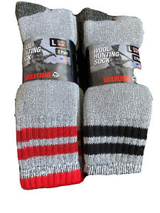 4 Pack Merino Wool Thermal Men Crew Socks 10-13 Winter Hiking Navy Boot socks