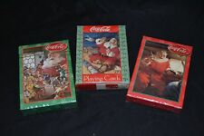 Lot of 3 COCA-COLA Playing Cards SANTA CLAUS Helicopter Train Set NEW/SEALED!