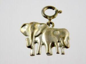 Vintage Sterling Silver Keychain Elephant Charm or Pendant Elephants 925 5.6g