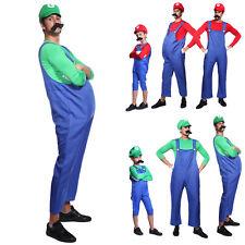 Mens & Kids Super Mario and Luigi Bros Fancy Dress Halloween Costume Plumber New