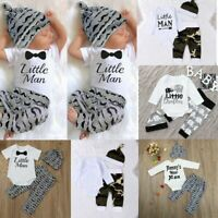 3PCS Set Newborn Baby Boy Romper Tops Shirt +Long Pants Hat Outfits Clothes