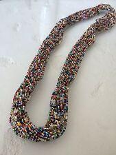 "NEW Zulu Czech Glass Bead MULTI-COLOR Statement Strand NECKLACE 28"""