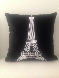 Black White Eiffel Tower Paris Soft Velvet Cushion Cover Home Decor 45 x 45 CM