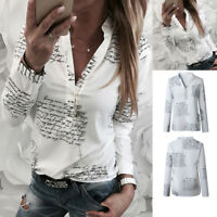 Women's OL V Neck Casual Tops Long Sleeve Button Letters Print Loose Blouse Tee
