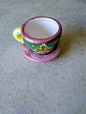 Me Ink Mary Engelbreit Miniature Tea Cup/Saucer Pink Green Yellow 2 in. high