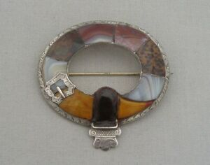 ANTIQUE VICTORIAN SCOTTISH SILVER INLAID HARDSTONES AGATE LARGE BUCKLE BROOCH