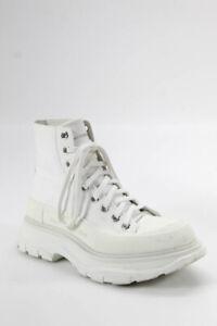 Alexander McQueen Womens Tread Slick Mid Calf Boots White 38.5