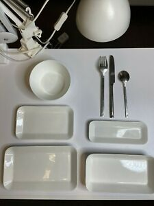 A set of dishes from Swiss Air business class.