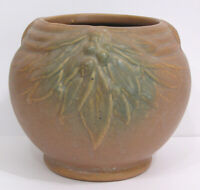 "Vintage Early McCoy Brown & Green Pottery Bulbous Vase Leaves, Berries 1926  6"""