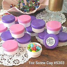 20 White JARS 1 ounce Pink Purple Caps Plastic Container 5303 DecoJars USA Food
