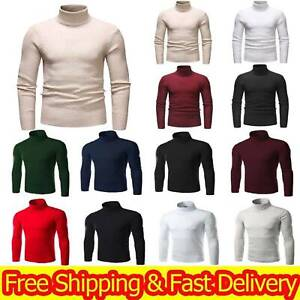 For Men Turtleneck Winter Warm Pullover Jumper Tops Roll Neck Knitted Sweaters