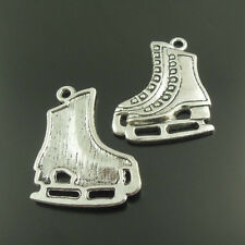**4pcs Vintage Silver Alloy Ice Skate Charms Pendant Necklace Jewellery Findings