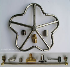 """12"""" Stainless Steel Penta Fire Ring Burner with Connector Kit (for LP Propane)"""