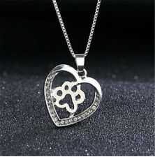 Heart Love Dog Cat Pet Kitty Paw Claw Feet Gold Silver Pendant Necklace Girls