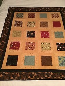 """Coffee Themed Patchwork Handmade Lap Quilt or Wall Hanging 45"""" X 56"""" Machine"""