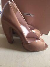 NIB Miu Miu Prada Women's Leather Curved Block Heels Shoes Beige 39.5 Italy