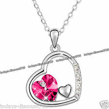 Xmas Present Heart Necklace Pink Crystal Love Unique Gift For Her Wife Mum Women