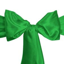 """100 Kelly Emerald Green Satin Chair Cover Sash Bows 6""""x108"""" Banquet Made in Usa"""