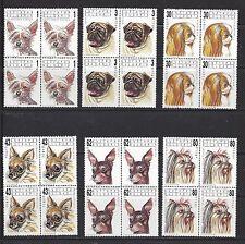 BULGARIA #3635-3640  BLOCKS OF 4  MNH  DOGS  -  1991