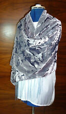 Velvet devore shawl Grey leaf design on black Blue fringe   NEW