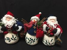 Folk Art Painted Weighted Bottom Santas and a Snowman Set of 3