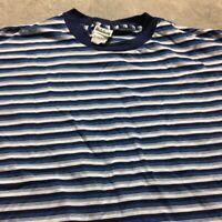90s VTG nos STRIPED Made In USA Blue Black White VAPORWAVE T Shirt SKATE XL Bold